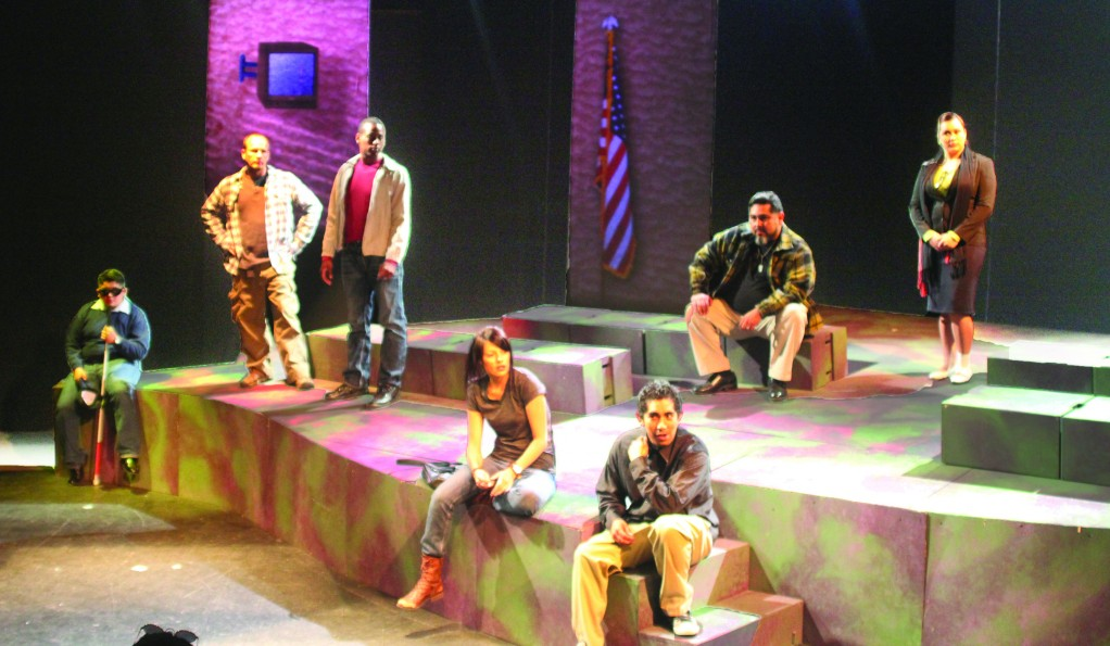 "The Cast of ""The Bronze Star"" received a standing ovation at the Kennedy Center American College Theater Festival competition in Los Angeles Feb. 15."