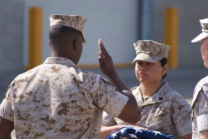 Former Staff Sergeant Mayra Marchington participates in the traditional Old Glory Ceremony in 2010. (Mayra Marchington)
