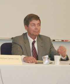 Gary Woods, pictured here during his 2009 reelection campaign, was accused of illegally residing in Sierra Madre by faculty association president John Fincher. By law, trustees must reside in the city they represent.