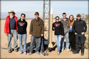 The Rocket Owls and team mentor Rick Maschek (left) prepare to travel to the Marshall Space Flight Center in Huntsville, Ala.