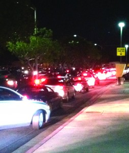The S8 parking lot was bumper-to-bumper Feb. 20 after a search for an armed suspect in the Student Services building led to an abrupt campus closure around 7 p.m. No gunman was found.
