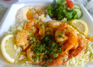 The shrimp kabob meal plate at Waffa's Kitchen in Glendora is the prime example of a tasty and nutritious balanced meal.