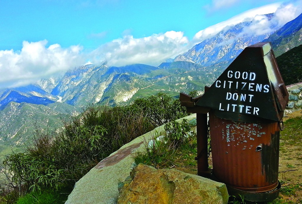 Friendly words of advice from park rangers greet travelers hiking in Azusa Canyon.