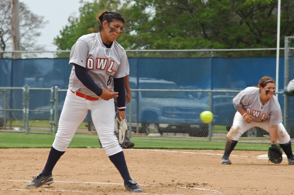 Arianna Sanchez pitched a 9-0 shutout to complete a first round sweep over the Cypress Chargers May 5. (Cole Petersen, Citrus College Clarion)