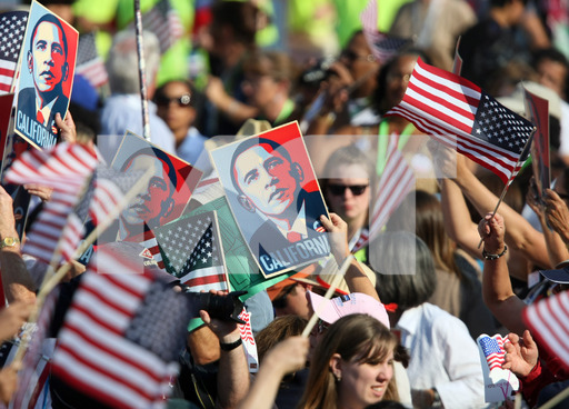 California delegates hold signs supporting Democratic presidential candidate Barack Obama during the final day of Democrat National Convention at Invesco Field at Mile High in Denver, Colorado, Thursday, August 28, 2008. / McClatchy Tribune