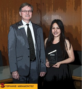 Stephanie Miramontez poses with vice president of student services Arvid Spor after receiving the co-Woman of the Year award. (Citrus College External Relations)