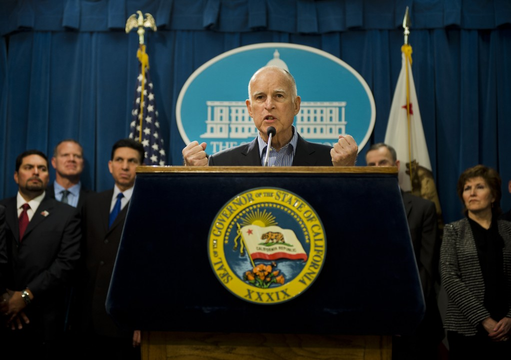 "California Gov. Jerry Brown speaks at a press conference on Wednesday, April 24, 2013, in Sacramento, California. Facing resistance at the Capitol to his proposal to overhaul California's school financing formula and to shift more money to poor and English-learning students Brown said ""today he considers the matter one of civil rights and will give opponents ""the battle of their lives."" (Renee C. Byer/Sacramento Bee/MCT)"