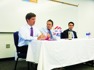Left to right: Hans Johnson, moderator Dave Milbrandt and Ben Shapiro.
