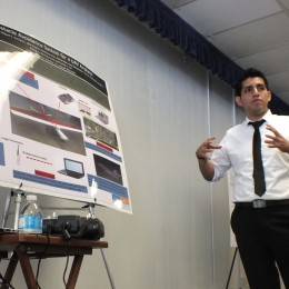 Victor Sanchez, 21, explains his research on Object Avoidance Systems for UAVs, which was performed at Cal Poly Pomona over the summer.