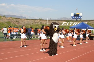 Citrus Cheer Club rallies fan at the Citrus College vs Moorpark football game.
