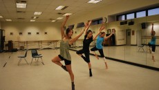 Lisa Lopez, Haihua Chiang and Tiffany Waniczek rehearse Lopez's dance piece for Holidance on Thursday Nov. 7. (Alyssa Bujanda / Citrus College Clarion)