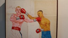 """Mickey Ward vs Arturo Gotti"" is a mixed media piece done by Harrison Freeman.  According to Duffy, Freeman had just finished watching the film ""The Fighter"" and was inspired to paint this. (Evan Solano/Citrus College Clarion)"