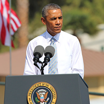 President Obama speaking to guests at Bonelli Park in San Dimas. Obama visited the park to  sign a proclamation dedicating 346,000 acres of the San Gabriel Mountains as a national monument. (Evan Solano/Clarion)
