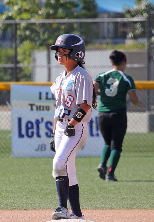 Kalei Guillermo, 20, has been a key part of Citrus College's success this season as she is third on the team in batting average (.367). (Dillon Cooper/Clarion)