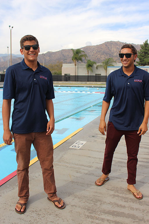 RJ Renteria, 19, left, and Mark Cordts, 19, right, are all smiles before their game against Cuesta on Wednesday, Oct. 14. Cordts and Renteria have been playing water polo together since they were 11 years old. (Astrid Perez/Clarion)