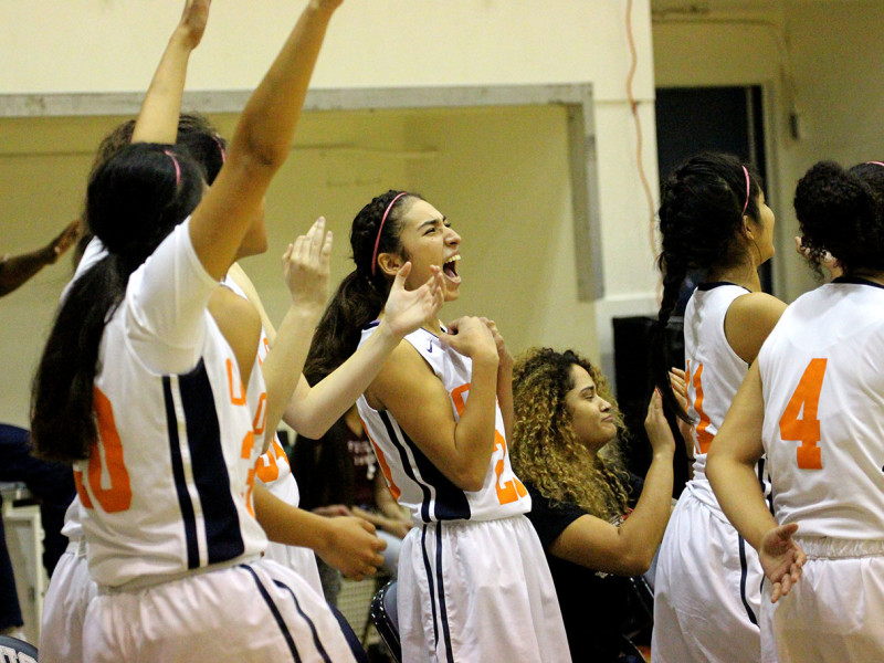 Citrus guard Jessica Rosas, #20 celebrates on the bench as the Citrus College Women's Basketball team defeated the Glendale Vaqueros 97- 42 on Saturday, Jan. 23. (Evan Solano/Clarion)