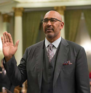 41st District Assemblymember Chris Holden takes the oath of office for the 2015-16 season. Chris Holden is representing a democratic point of view at the Why Politics Matter forum at 10 a.m. April 8 in the Campus Center East Wing.
