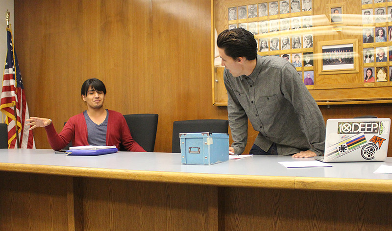 Associated Student of Citrus College executive board President Cameron Wisdom (right) and former Stduent Trustee Juniper Cordova-Goff (left) talk after a board meeting. Wisdom was under consideration for impeachment at the May 3 board meeting where the vote failed 8-4. (File Photo/Clarion)