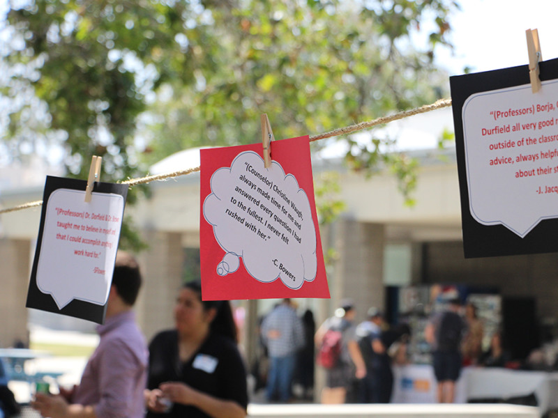 Surrounding the seating area was a line of quotes sent in from transferring students giving credit to influential faculty, staff or friends who have influenced their lives on at the Transfer Achievement Reception June 2 in the Campus Center Mall.