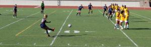 Citrus' leading goal-scorer Jacqueline Mejia, No. 8, delivers a free kick into West LA's defensive zone.
