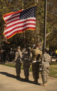 """Shawna Louise Courtesy Azusa Pacific University Army ROTC students participate in """"Presentation of Colors"""" at Citrus College's """"Saluting Our Veterans"""" event on Nov. 10 in the Campus Center Mall."""