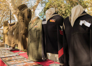(Jacqueline Torres/Courtesy) Military uniforms from past and present veterans are shown on display at the annual Citrus College Veteran's Day event on Nov. 10 in the Campus Center Mall.